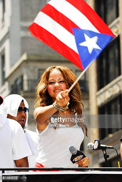 Singer Kat DeLuna attends the 2008 National Puerto Rican Day Parade on June 8 2008 in New York City