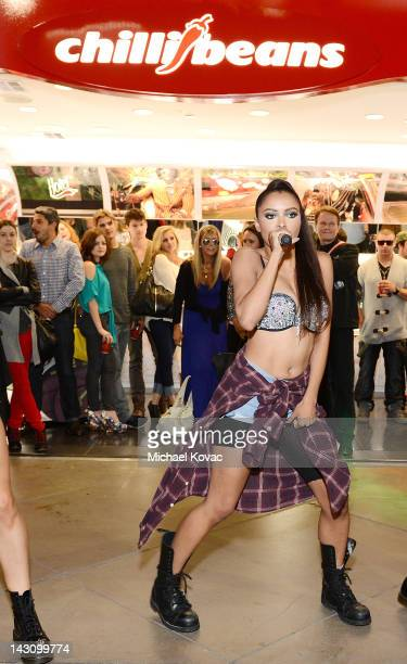 Singer Kat Graham performs at the Chilli Beans Century City Store Opening on April 18 2012 in Century City California
