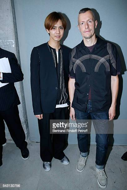Singer Katayose Ryota and Stylist Lucas Ossendrijver attend the Lanvin Menswear Spring/Summer 2017 show as part of Paris Fashion Week on June 26,...