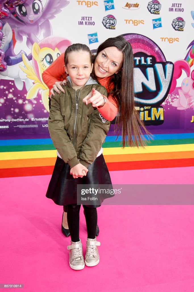 Singer Kate Hall with her daughter Kate Hall and her daughter Ayana Haley Hall-Soost attend the 'My little Pony' Premiere at Zoo Palast on October 3, 2017 in Berlin, Germany.