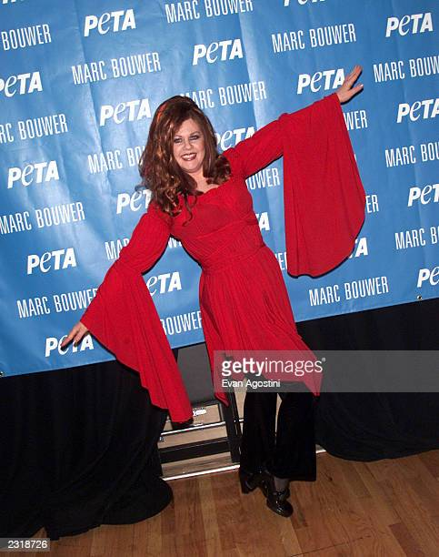 "Singer Kate Pierson of the ""B-52's"" attending the Marc Bouwer Fall 2002 fashion show sponsored by PETA in SOHO during Mercedes-Benz Fashion Week in..."