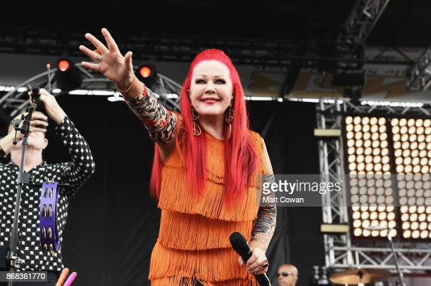 Singer Kate Pierson of the The B-52's performs on stage at the Growlers 6 festival at the LA Waterfront on October 29, 2017 in San Pedro, California.