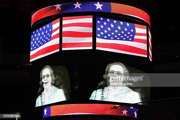 Singer Kate Smith is seen on the screen before Game Six of the 2010 NHL Stanley Cup Final between the Chicago Blackhawks and the Philadelphia Flyers...