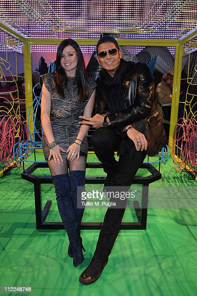 Singer Katerine Avgoustakis and DJ Sergio Cerruti attend the Benedict Radcliffe wireframe design installation inspired by Range Rover Evoque at the...