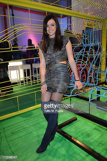 Singer Katerine Avgoustakis attends the Benedict Radcliffe wireframe design installation inspired by Range Rover Evoque at the Opificio 31 during...