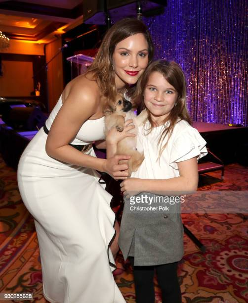 Singer Katharine McPhee and actress Reagan Revord attend the James Paw 007 Ties Tails Gala at the Four Seasons Westlake Village on March 10 2018 in...