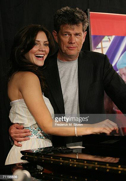 Singer Katharine McPhee and producer David Foster pose for photographers during the JC Penny Jam press conference at the Shrine Auditorium on June 13...