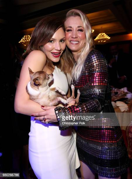 Singer Katharine McPhee Larry and Paw Works Celebrity Ambassador/Board Member Kaley Cuoco attend the James Paw 007 Ties Tails Gala at the Four...