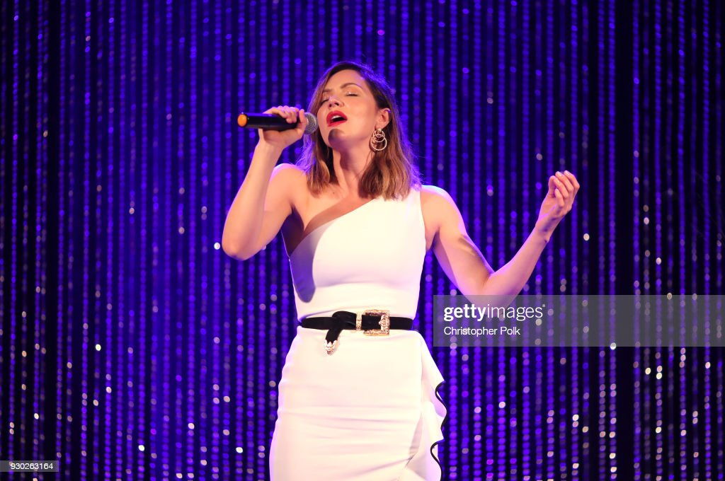 Singer Katharine McPhee performs onstage at the James Paw 007 Ties & Tails Gala at the Four Seasons Westlake Village on March 10, 2018 in Westlake Village, California.