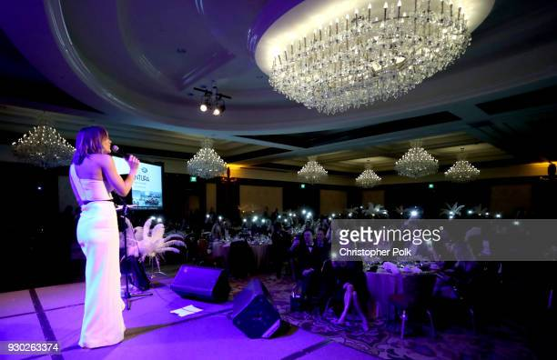 Singer Katharine McPhee performs onstage at the James Paw 007 Ties Tails Gala at the Four Seasons Westlake Village on March 10 2018 in Westlake...