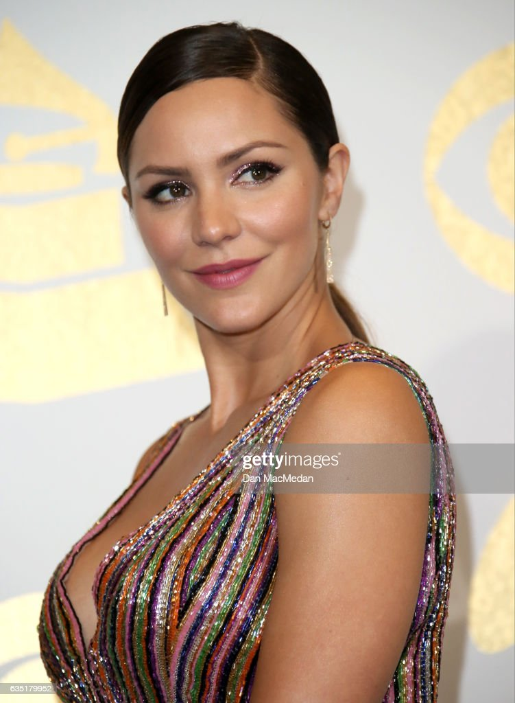 Singer Katharine McPhee poses in the press room at The 59th GRAMMY Awards at Staples Center on February 12, 2017 in Los Angeles, California.