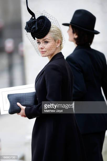 Singer Katherine Jenkins arrives at a reception held at the Guildhall following the ceremonial funeral of former British Prime Minister Margaret...