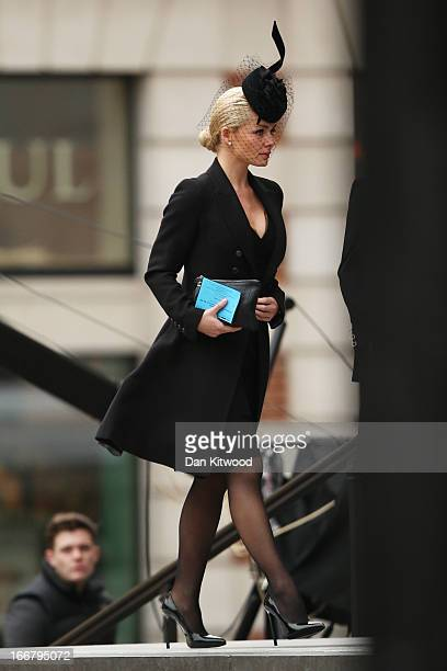Singer Katherine Jenkins attends the Ceremonial funeral of former British Prime Minister Baroness Thatcher on April 17 2013 in London England...