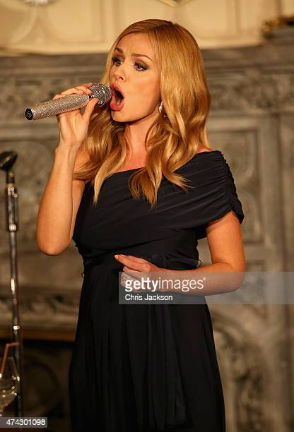 Singer Katherine Jenkins sings at a dinner to mark the 25th anniversary of Tusk Trust at Windsor Castle on May 21, 2015 in Windsor, England. The...