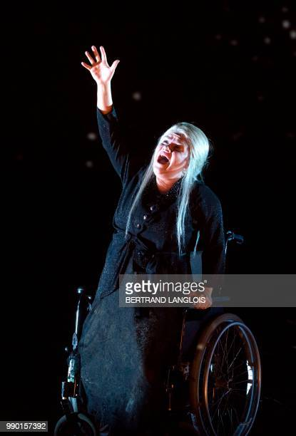 Singer Kathryn Lewek playing Die Königin der Nacht performs in Mozart's opera 'Die Zauberflote ' directed by Simon McBurney and conducted by Raphael...