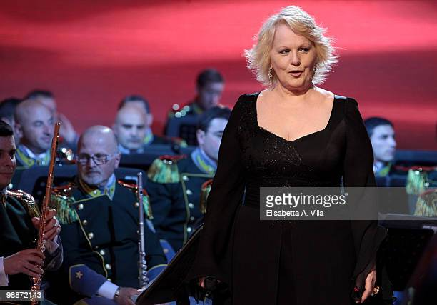 Singer Katia Ricciarelli attends the ''Lotto Per Amore'' TV show at RAI studios on May 5, 2010 in Rome, Italy.
