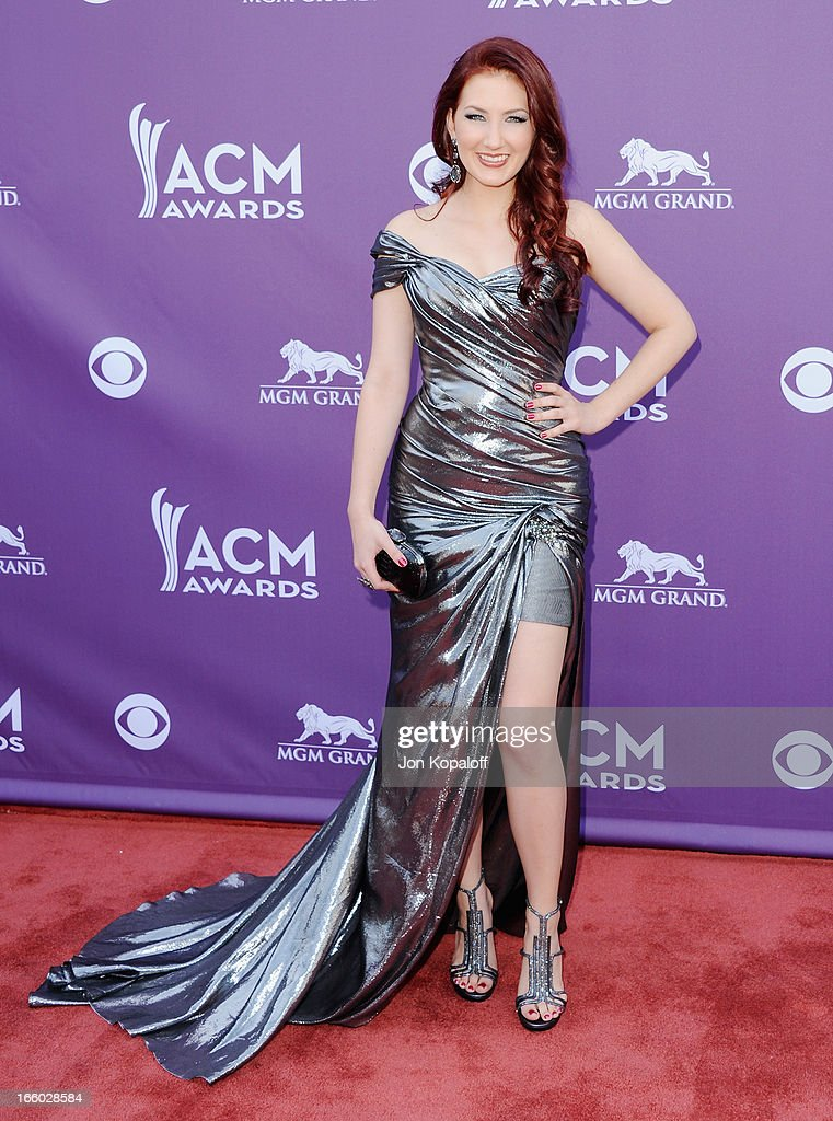 Singer Katie Armiger arrives at the 48th Annual Academy Of Country Music Awards at MGM Grand Garden Arena on April 7, 2013 in Las Vegas, Nevada.