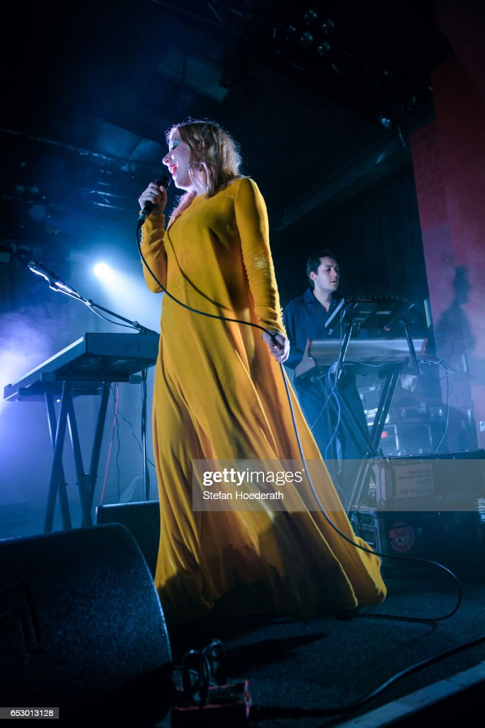 Singer Katie Stelmanis and Dorian Wolf of Austra perform live on stage during a concert at Astra on March 13, 2017 in Berlin, Germany.