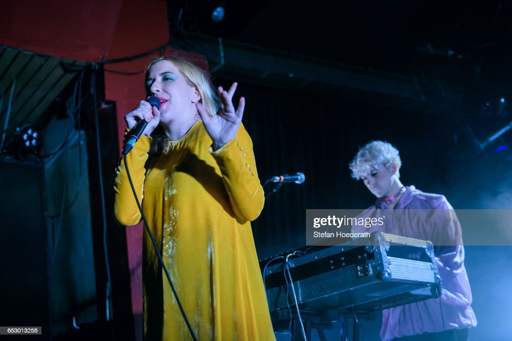 Singer Katie Stelmanis and Ryan Wonsiak of Austra perform live on stage during a concert at Astra on March 13, 2017 in Berlin, Germany.