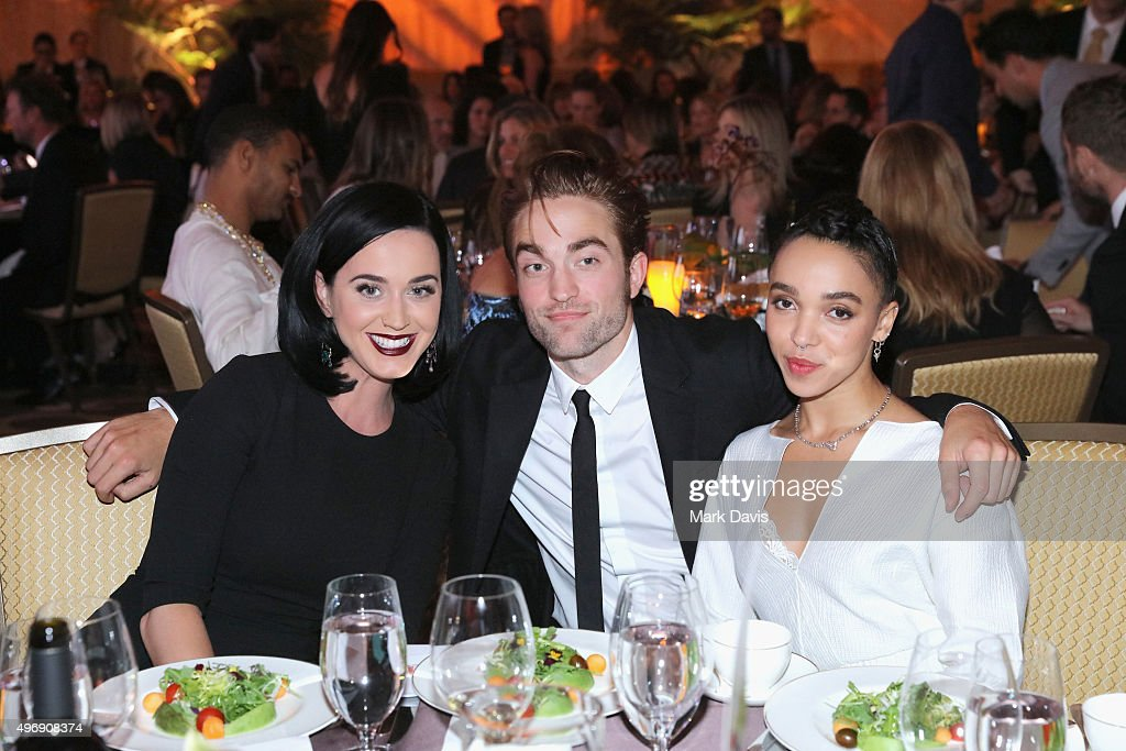 Singer Katy Perry, actor Robert Pattinson and FKA twigs attend the 8th Annual GO Campaign Gala at Montage Beverly Hills on November 12, 2015 in Beverly Hills, California.