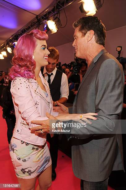 Singer Katy Perry and actor David Hasselhoff attend the MTV Europe Music Awards 2011 at the Odyssey Arena on November 6 2011 in Belfast Northern...