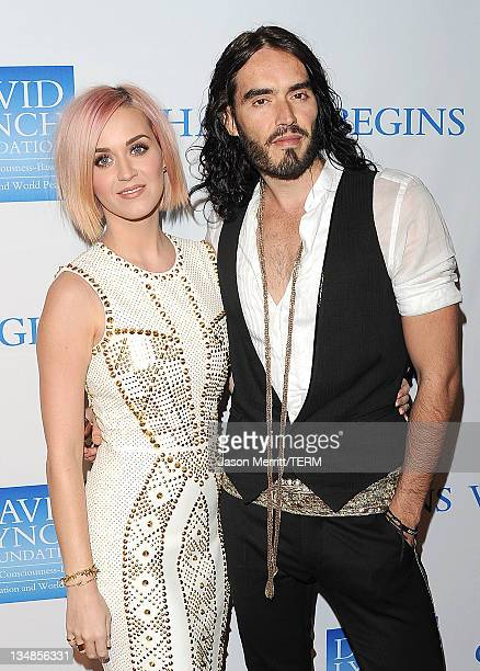 Singer Katy Perry and actor Russell Brand attend the 3rd Annual Change Begins Within Benefit Celebration presented by The David Lynch Foundation held...