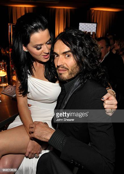 """Singer Katy Perry and actor/comedian Russell Brand attend The Art of Elysium's 3rd Annual Black Tie Charity Gala """"Heaven"""" on January 16, 2010 in..."""