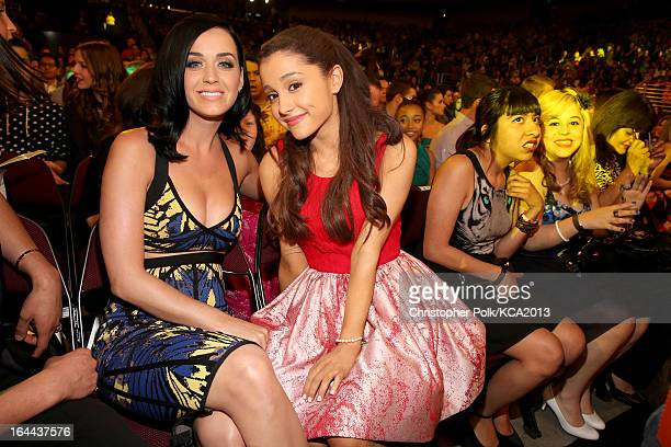 Singer Katy Perry and actress Ariana Grande attend Nickelodeon's 26th Annual Kids' Choice Awards at USC Galen Center on March 23 2013 in Los Angeles...