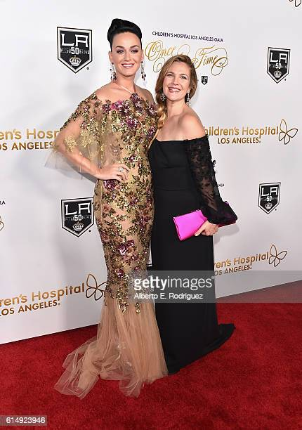 Singer Katy Perry and actress Drew Barrymore attend the 2016 Children's Hospital Los Angeles Once Upon a Time Gala at LA Live Event Deck on October...
