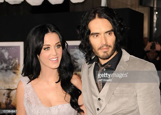 Singer Katy Perry and comedian Russell Brand arrives at the Los Angeles premiere of 'The Tempest' held at the El Capitan Theatre on December 6 2010...