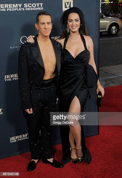 Singer Katy Perry and designer Jeremy Scott arrive at the premiere of Jeremy Scott The People's Designer at TCL Chinese 6 Theatres on September 8...