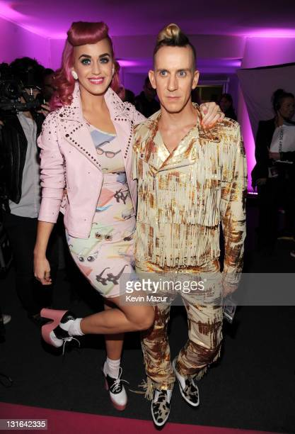 Singer Katy Perry and esigner Jeremy Scott attend the MTV Europe Music Awards 2011 at the Odyssey Arena on November 6 2011 in Belfast Northern Ireland