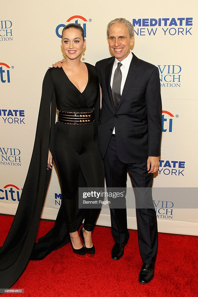 Singer Katy Perry and Executive Director of the David Lynch Foundation Bob Roth attend Change Begins Within: A David Lynch Foundation Benefit Concert on November 4, 2015 in New York City.