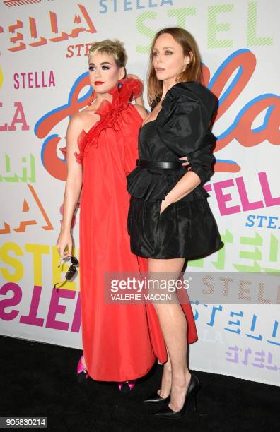 Singer Katy Perry and fashion designer Stella McCartney attend McCartney's Autumn 2018 womenswear collection and Autumn Winter 2018 menswear...