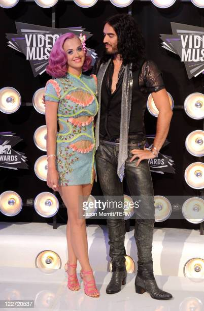 Singer Katy Perry and husband Russell Brand arrive at the 2011 MTV Video Music Awards at Nokia Theatre LA LIVE on August 28 2011 in Los Angeles...