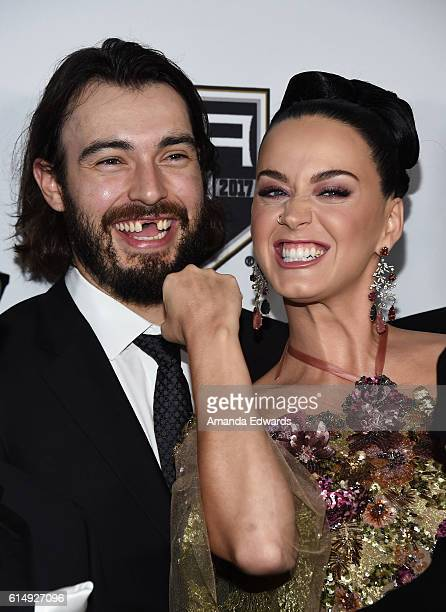 Singer Katy Perry and NHL player Drew Doughty arrive at the 2016 Children's Hospital Los Angeles Once Upon a Time Gala at the LA Live Event Deck on...