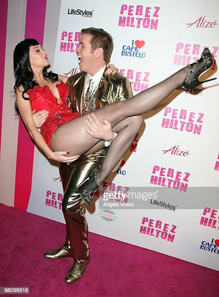 Singer Katy Perry and Perez Hilton attend Perez Hilton's 'CarnEvil' 32nd birthday party at Paramount Studios on March 27 2010 in Los Angeles...