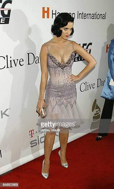 Singer Katy Perry arrives at Clive Davis' Annual PreGrammy Gala at the Beverly Hilton Hotel on February 7 2009 in Beverly Hills California