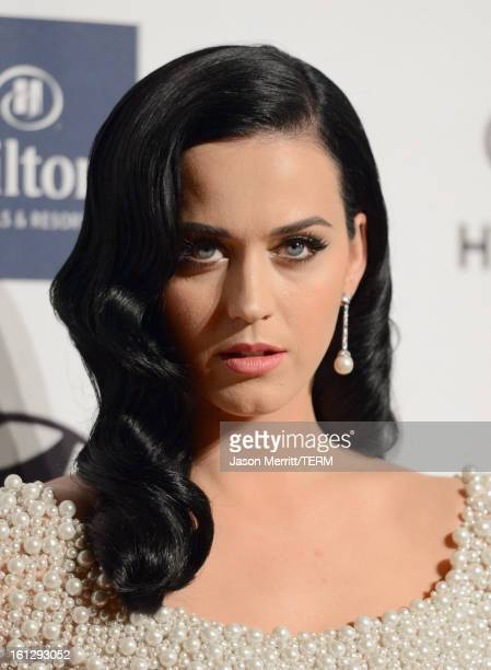 Singer Katy Perry arrives at Clive Davis The Recording Academy's 2013 PreGRAMMY Gala and Salute to Industry Icons honoring Antonio LA Reid at The...