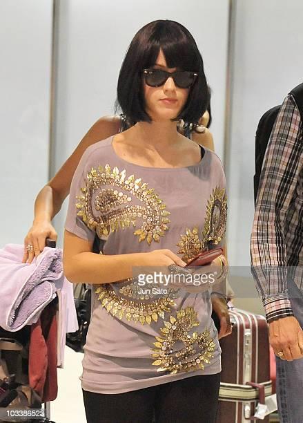 Singer Katy Perry arrives at Narita International Airport on August 15 2010 in Narita Japan