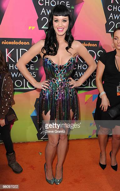 Singer Katy Perry arrives at Nickelodeon's 23rd Annual Kids' Choice Awards held at UCLA's Pauley Pavilion on March 27, 2010 in Los Angeles,...