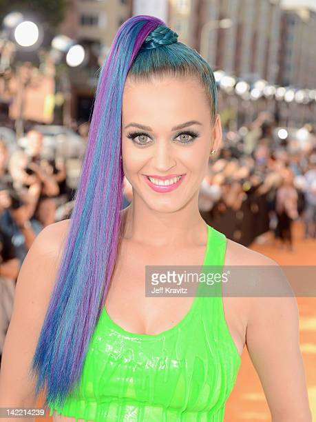 Singer Katy Perry arrives at the 2012 Nickelodeon's Kids' Choice Awards at Galen Center on March 31 2012 in Los Angeles California