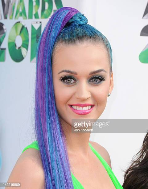 Singer Katy Perry arrives at the 2012 Nickelodeon's Kids' Choice Awards held at the Galen Center on March 31 2012 in Los Angeles California