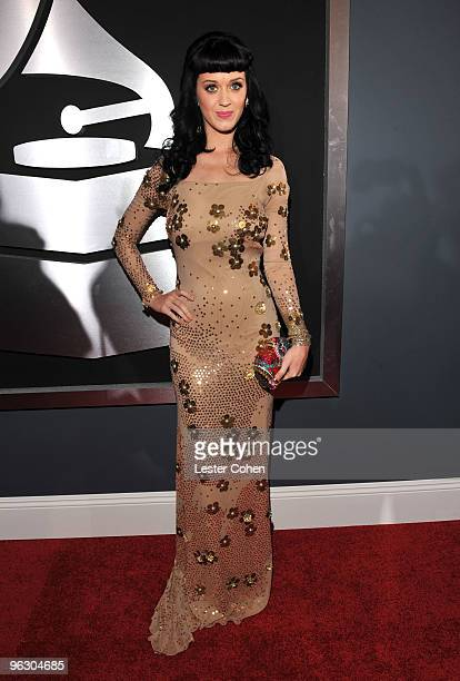 Singer Katy Perry arrives at the 52nd Annual GRAMMY Awards held at Staples Center on January 31, 2010 in Los Angeles, California.