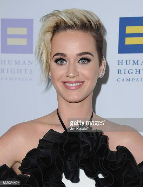 Singer Katy Perry arrives at the Human Rights Campaign's 2017 Los Angeles Gala Dinner at JW Marriott Los Angeles at LA LIVE on March 18 2017 in Los...