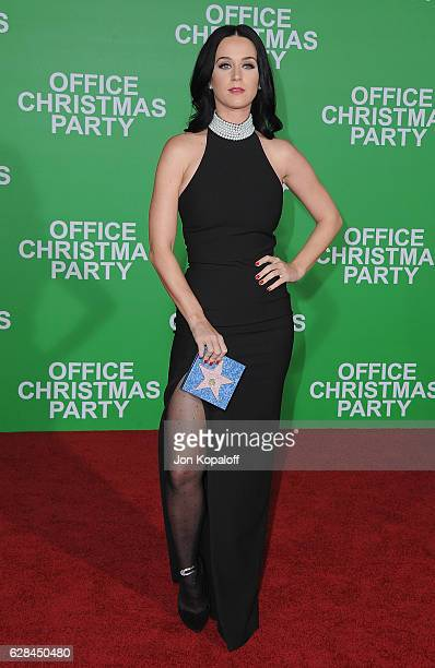 "Singer Katy Perry arrives at the Los Angeles Premiere ""Office Christmas Party"" at Regency Village Theatre on December 7, 2016 in Westwood, California."