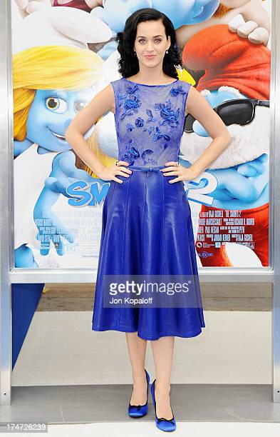 Singer Katy Perry arrives at the Los Angeles Premiere Smurfs 2 at Regency Village Theatre on July 28 2013 in Westwood California