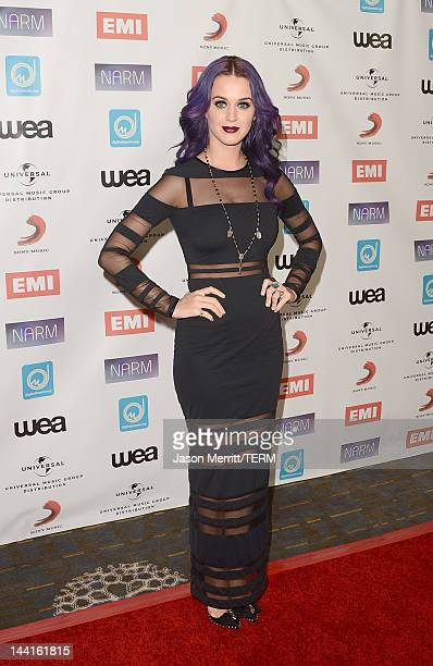 Singer Katy Perry arrives at the NARM Music Biz Awards dinner party held at the Hyatt Regency Century Plaza on May 10 2012 in Century City California