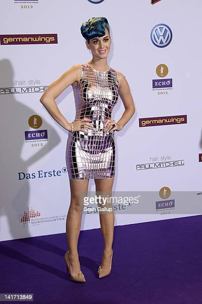 Singer Katy Perry arrives for the Echo Awards 2012 at Palais am Funkturm on March 22, 2012 in Berlin, Germany.