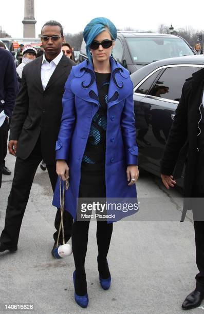 Singer Katy Perry arrives for the Viktor & Rolf Ready-To-Wear Fall/Winter 2012 show as part of Paris Fashion Week at Espace Ephemere Tuileries on...